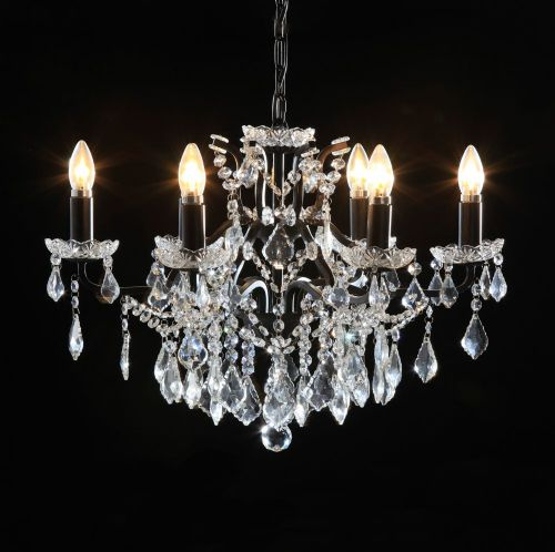 Antique French Cut Glass Black Chandelier 6 arm